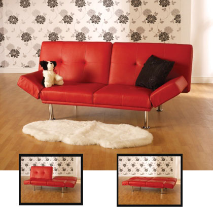 SONYA SOFA BED RED leather 1 - Best Sofa For Kids