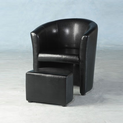 leather tub chair sofa black 1 - A Footstool for Computer Use, An Ergonomic Necessity