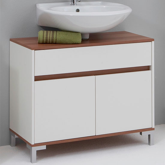 white walnut under sink cabinet 1 - Three Easy Steps To Pick Bathroom Vanities For Small Bathrooms