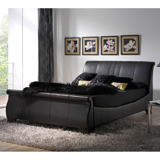 Bam456L genuine leather brown sleigh bed - Bedroom Interior Design Ideas for Big Bedrooms