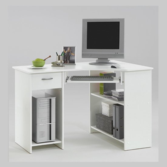 Home Office White Corner Computer Desk Felix - Importance of Color and Shape For Educational Furniture