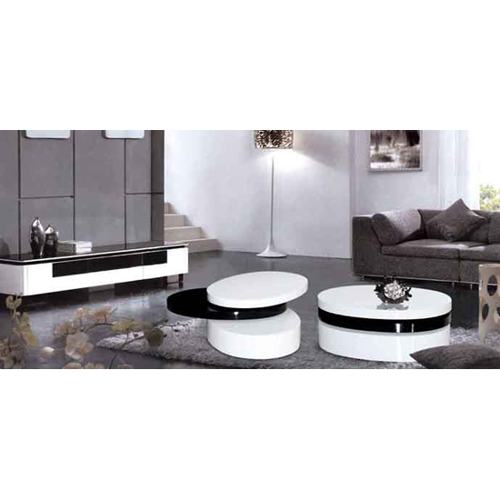 Add more functionality to a living room by buying coffee tables with matching end tables.