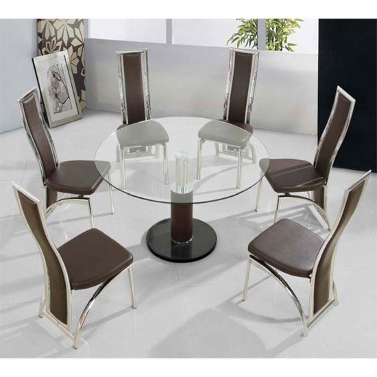 comaBr din 6Chcgo 1 - Tips for contemporary décor by adding round glass top dining table with glass base in your house