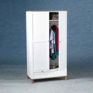 arcadia 2 door wardrobe 300x300 - Add more storage to your room with a wardrobe with double hanging rails