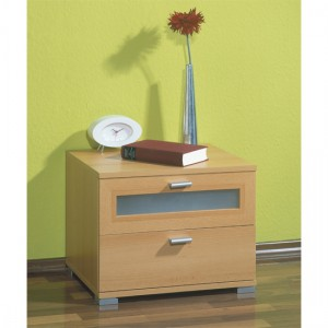 Bedside mirrored cabinets in beech
