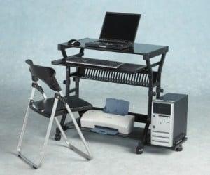Types of computer desks in black