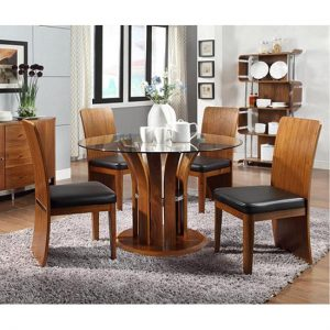 JF601  Dining Table  Wal 4 Chair 300x300 - Revamp your dining experience with extendable dining table in walnut