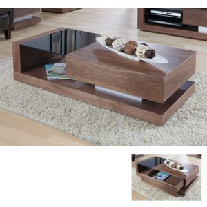 JF613 COFFEE TABLE WALNUT BLACK GLASS 300x300 - Wood and Glass Coffee Tables: What's the Best Buy?