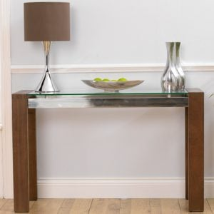 ROMA Walnut Glass Console Table 300x300 - How to choose the correct size of lamp for console tables?
