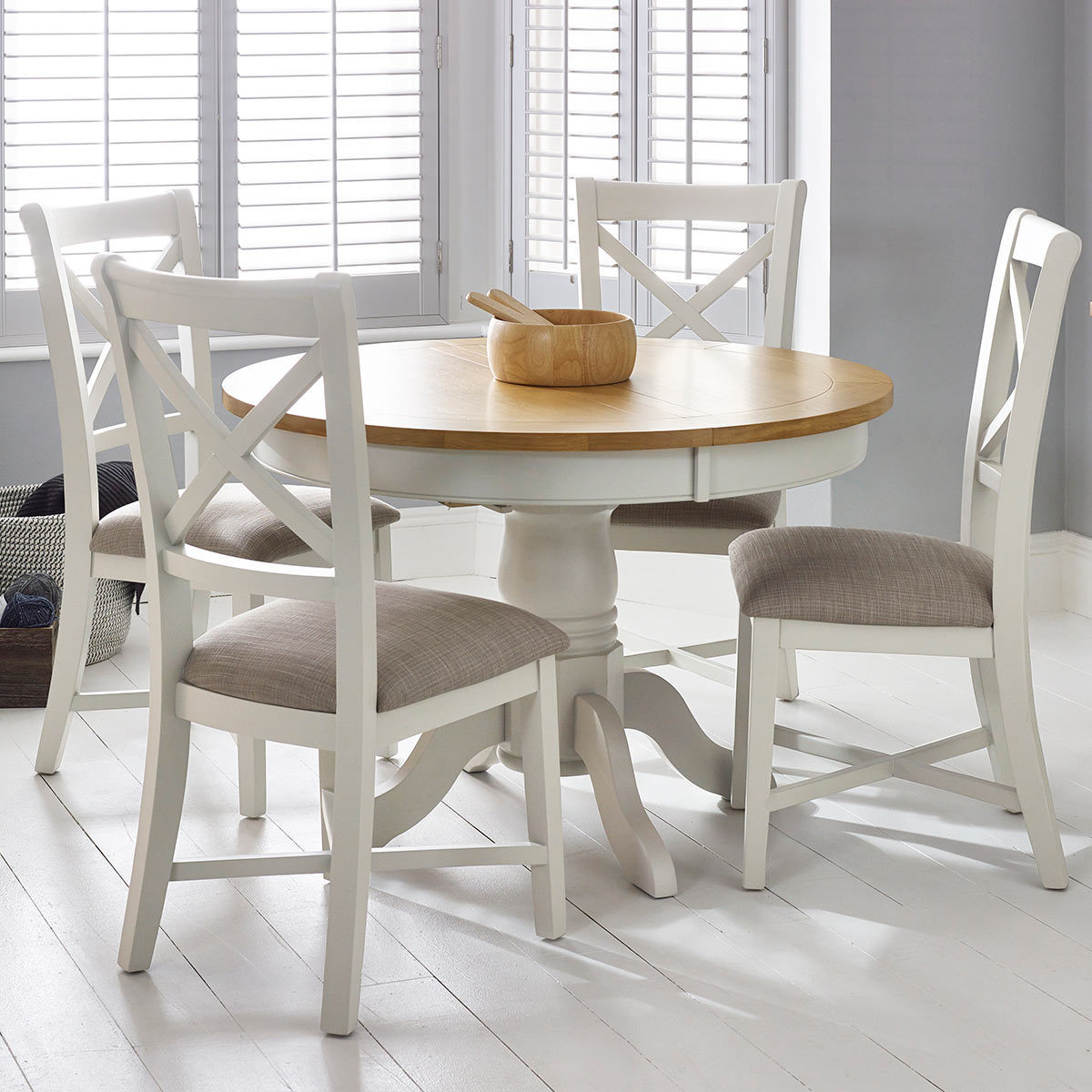 Use a round extendable dining table to save space in your dining room