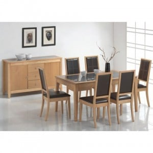 Bring more functionality to your dining room by buying an extendable oak dining table with six chairs