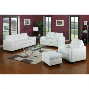 Boca White 3  2  1 Leather Suite BOKA05 300x300 - Living room furniture for country home