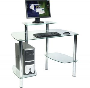 Glacier Workstation Dressed 300x291 - Ensure safety by buying tempered glass computer desk