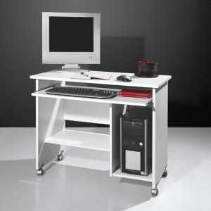 White Small Computer Desk with Hutch for Small Spaces