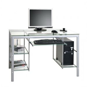 Adding Small Glass Computer Desk with Drawers for More Storage