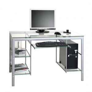 Clear glass computer desk –  A way to create illusion