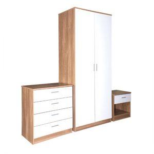 Ottawa 3 Piece Oak  White High Gloss Bedroom Set 300x300 - How to buy oak bedroom furniture on sale
