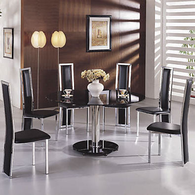 glass black dining tables maxiBlkg601 - Tips While Shopping For A Round Black Glass Dining Table And Chairs