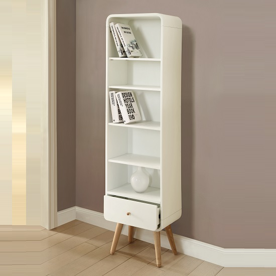 PC703 Tall Bookcase White20Ash1 - Choosing  Furniture Living Room Storage Will Look Great With: Two Main Approaches