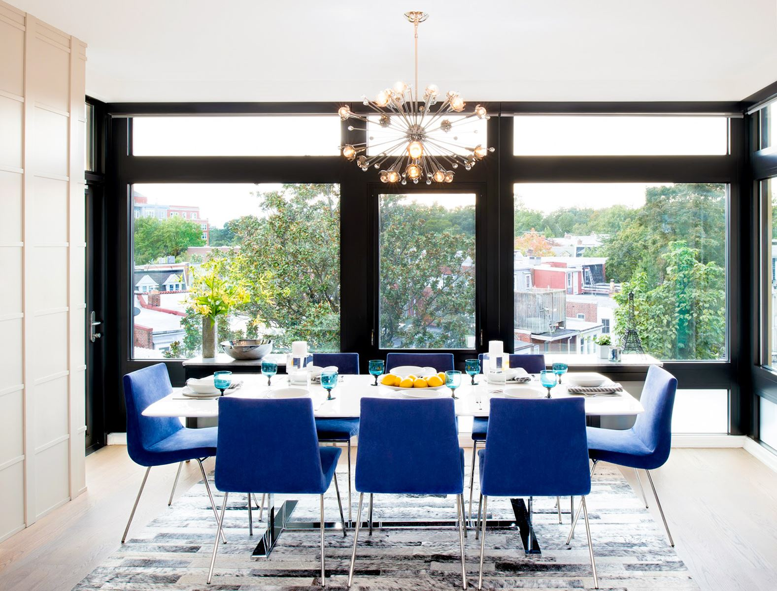 4 Home Design Ideas With Blue Upholstered Dining Chairs