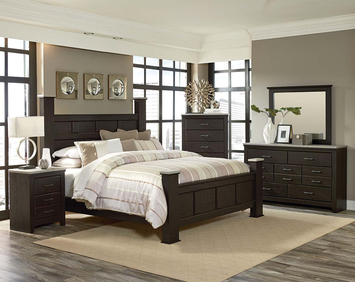 69350 Stonehill Dark Bedroom Bed Brown Marble - How To Buy Cheap Bedroom Furniture Online