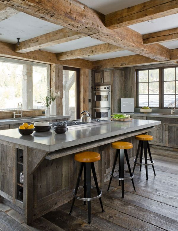 wooden beams kitchen concrete top - Bar Height Dining Table Sets: Modern Breakfast Ideas For Kitchen