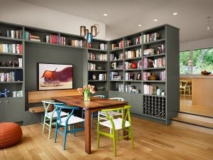 Colorful collection of wishbone chairs and gorgeous gray bookshelves add to the charm of this dining room 300x225 - MAKE YOUR DINING ROOM WORK FOR YOU