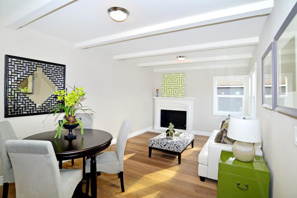 White & Green Living Room