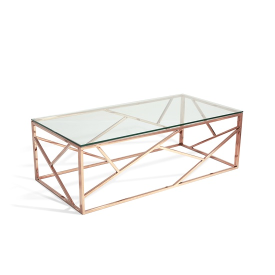 betty coffee table rosegold with glass