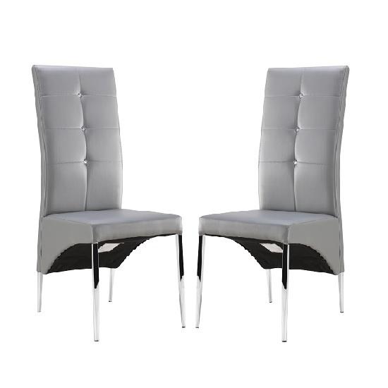 Vesta Grey with diamante button dining chair