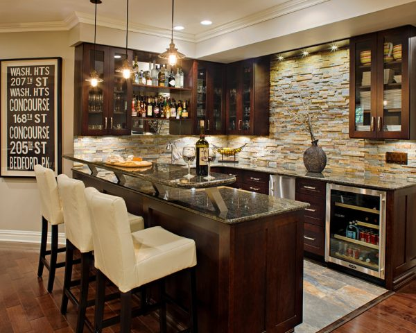 wet bar ideas for basement Home Bar Traditional with dark wood cabinets glass front e1493905658993 - Home Bar Table of Your Dreams: Top Trends For 2017