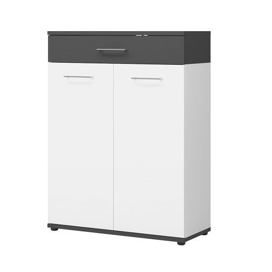Geneva Modern Shoe Storage Cabinet In White And Anthracite