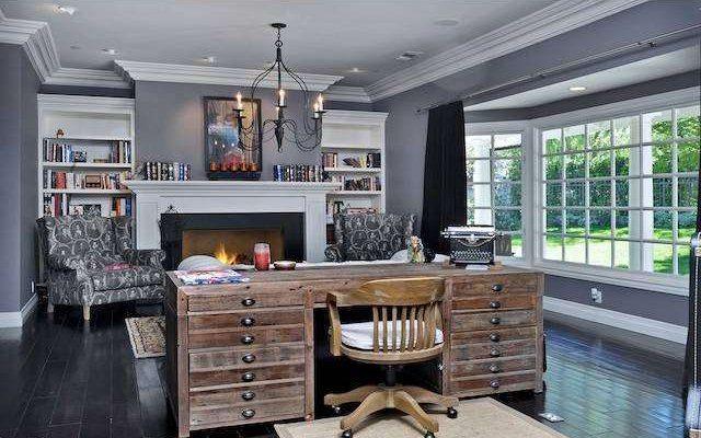office complete fireplace beautiful crown molding - 6 potential home office spots that you might not have considered