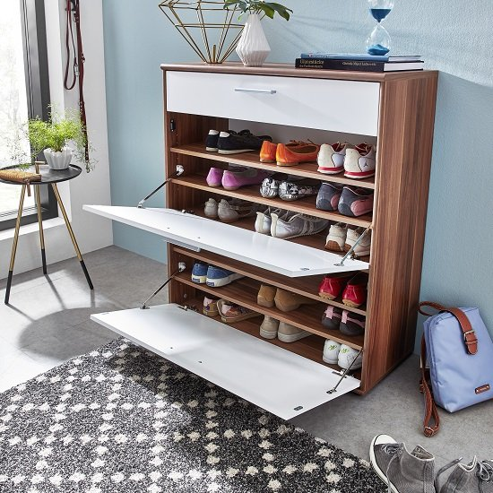 bigfoot shoe cabinet walnut white open - Clever Ideas For Organising Your Hallway Shoe Storage