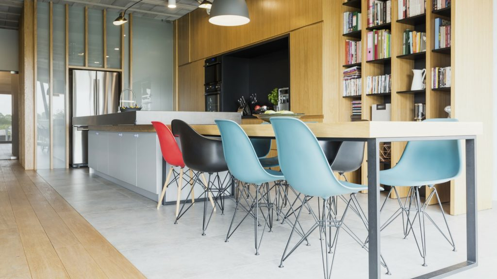Multi coloured dining table and chairs