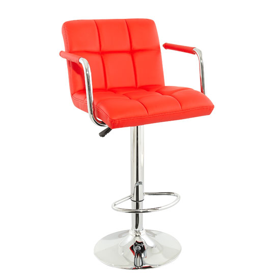 Make Your Kitchen Contemporary with Bar Stools with Red Seats & Leather