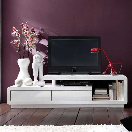 59052 celia white tv unit - Modernise your TV stand with High Gloss
