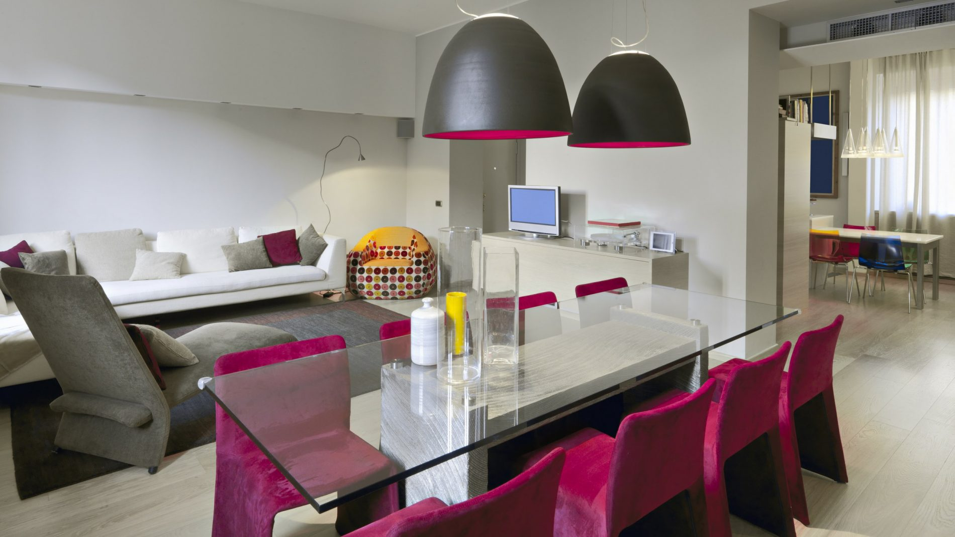 Glass Dining Table with 6 Chairs In A Modern Home