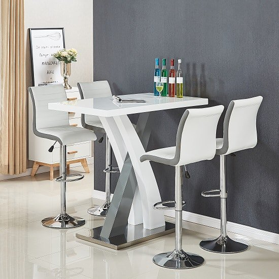 axara bar table set white grey ritz stools min - Buying a bar table is cheaper than paying for breakfast bar table in your kitchen