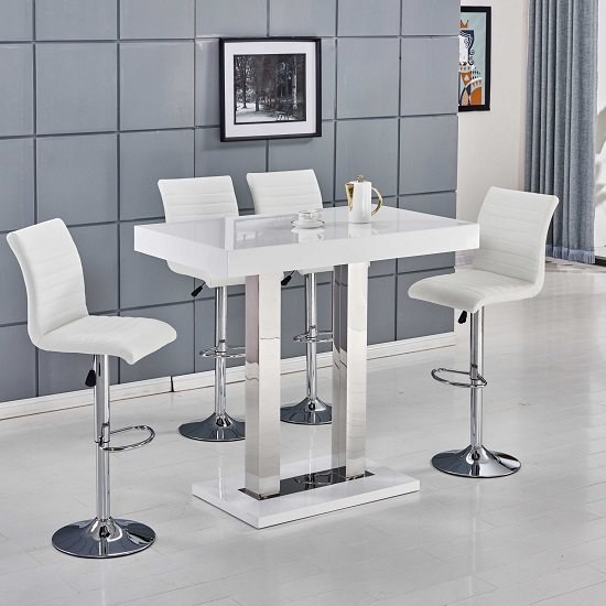 caprice white gloss with ripple white - Buying a bar table is cheaper than paying for breakfast bar table in your kitchen