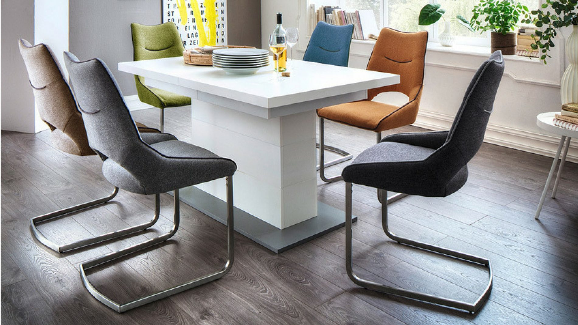 High Gloss Extending Dining Table And Chairs Sets UK